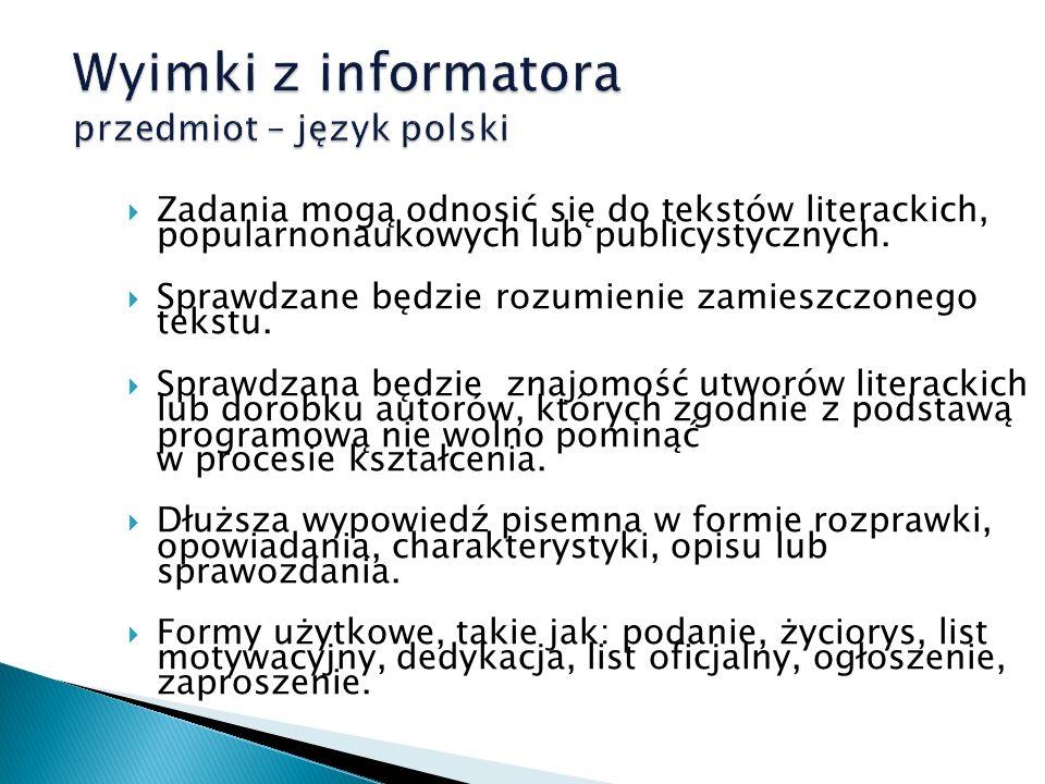 Wyimki z informatora przedmiot – język polski
