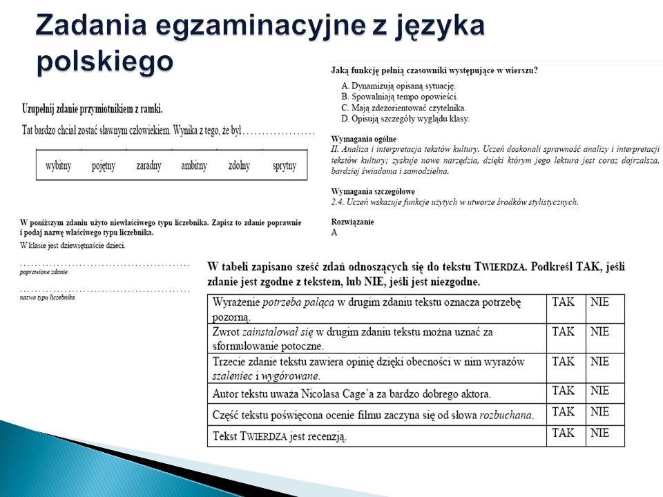 Zadania egzaminacyjne z języka polskiego