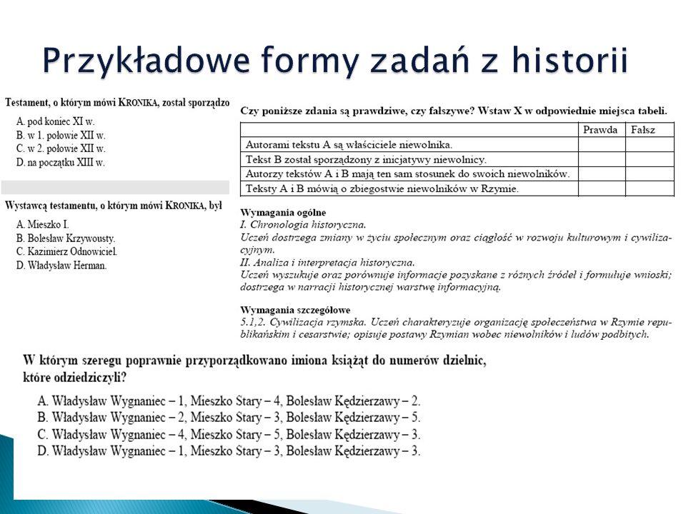 Przykładowe formy zadań z historii