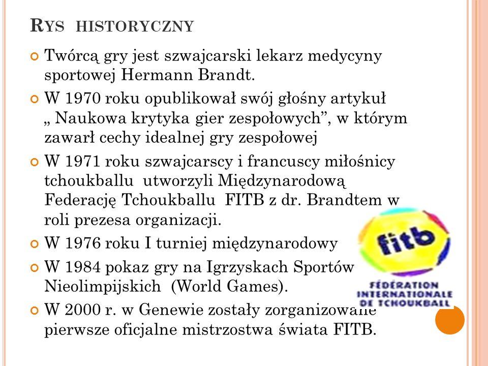 Rys historyczny Twórcą gry jest szwajcarski lekarz medycyny sportowej Hermann Brandt.