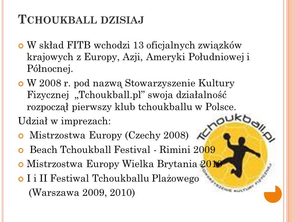 Tchoukball dzisiaj W skład FITB wchodzi 13 oficjalnych związków krajowych z Europy, Azji, Ameryki Południowej i Północnej.