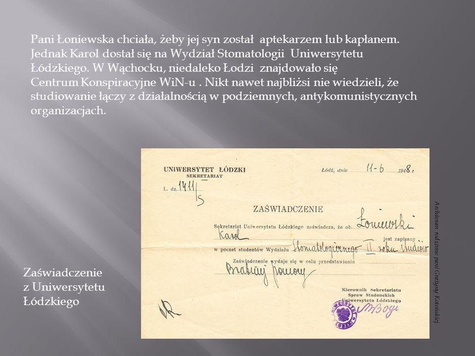 Zaświadczenie z Uniwersytetu Łódzkiego