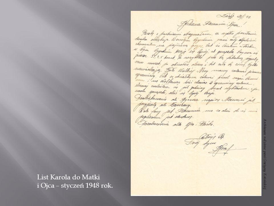 List Karola do Matki i Ojca – styczeń 1948 rok.