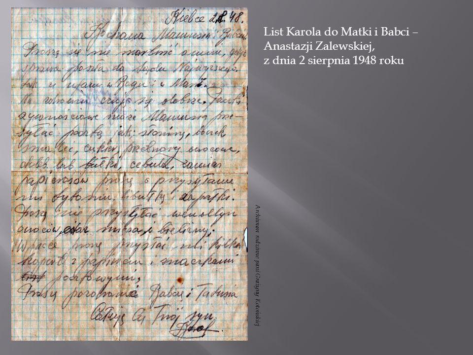 List Karola do Matki i Babci – Anastazji Zalewskiej,