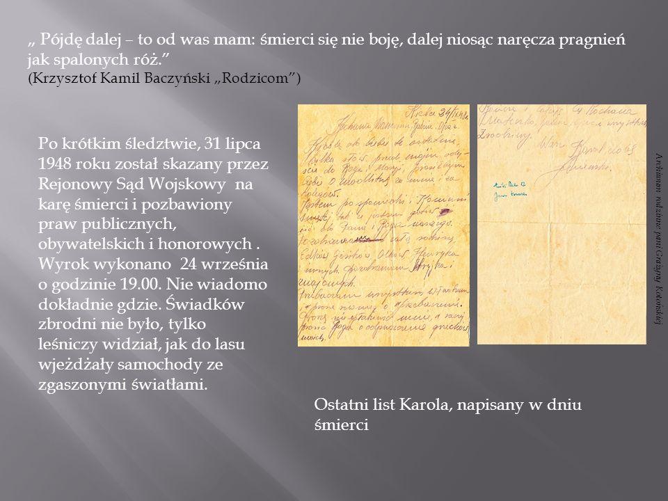 Ostatni list Karola, napisany w dniu śmierci