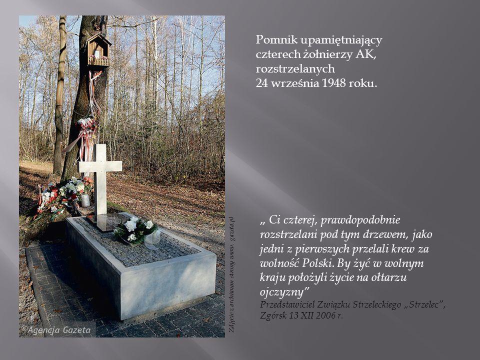 Pomnik upamiętniający czterech żołnierzy AK, rozstrzelanych 24 września 1948 roku.