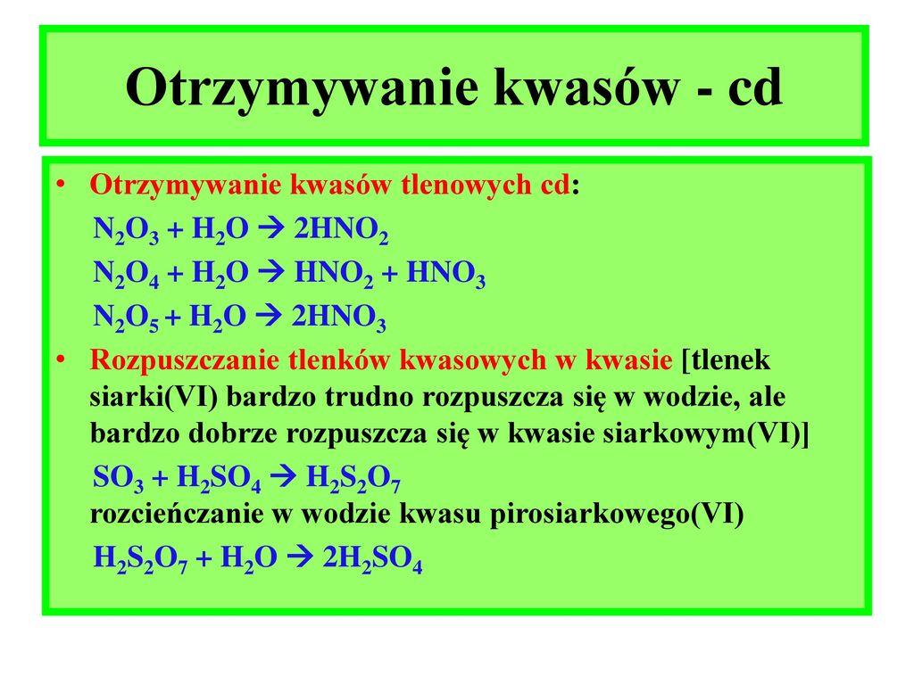 Podział kwasów Rozkład mocy kwasów Otrzymywanie kwasów ...