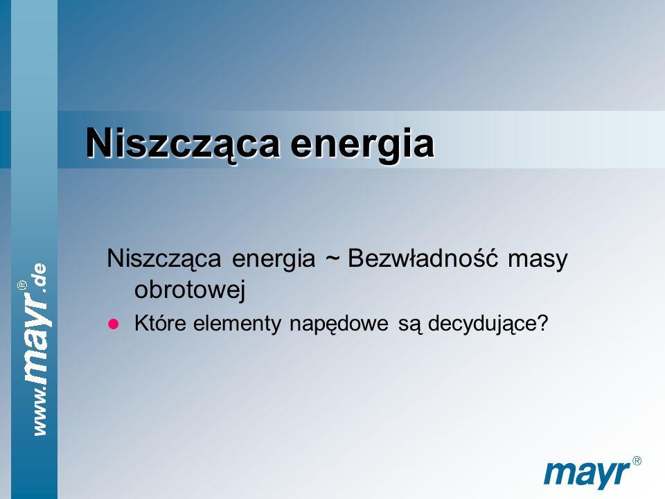 Niszcząca energia Niszcząca energia ~ Bezwładność masy obrotowej