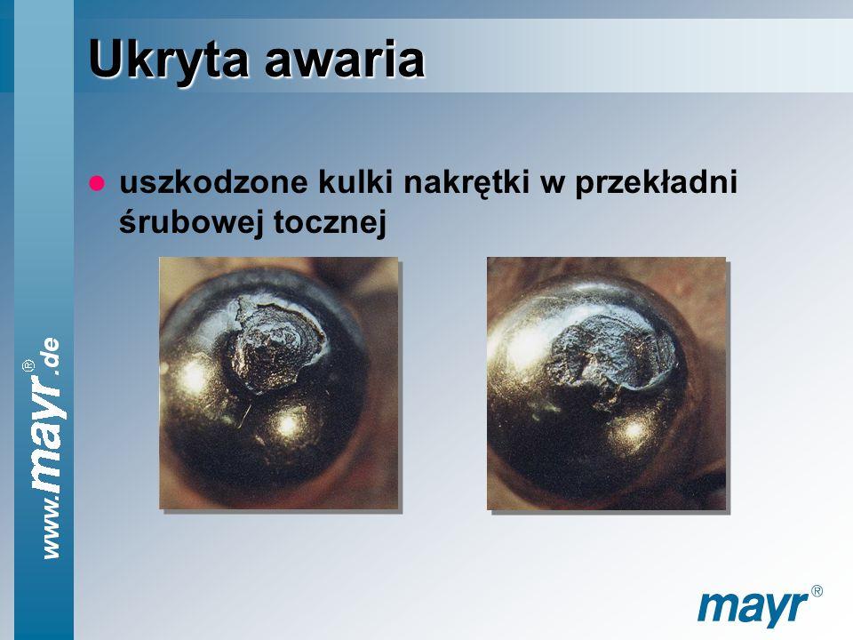 Ukryta awaria uszkodzone kulki nakrętki w przekładni śrubowej tocznej