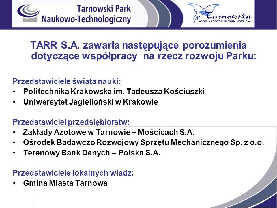 TARR S.A. zawarła następujące porozumienia dotyczące współpracy na rzecz rozwoju Parku: