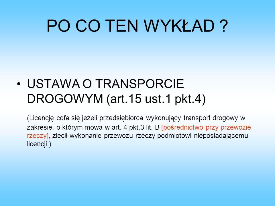 PO CO TEN WYKŁAD USTAWA O TRANSPORCIE DROGOWYM (art.15 ust.1 pkt.4)