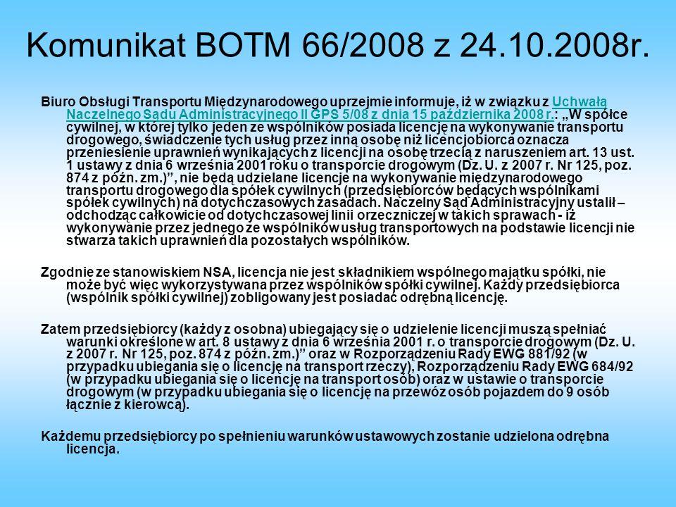 Komunikat BOTM 66/2008 z 24.10.2008r.