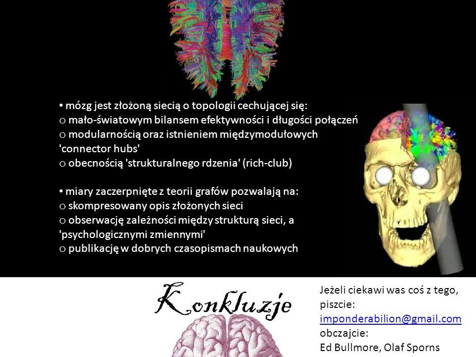 Konkluzje mózg jest złożoną siecią o topologii cechującej się: