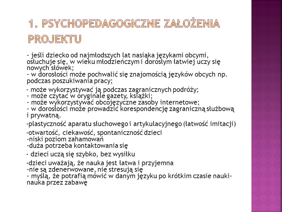 1. Psychopedagogiczne założenia projektu