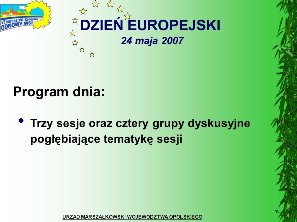 DZIEŃ EUROPEJSKI 24 maja 2007 Program dnia:
