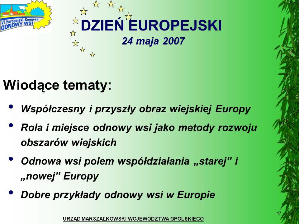 DZIEŃ EUROPEJSKI 24 maja 2007 Wiodące tematy: