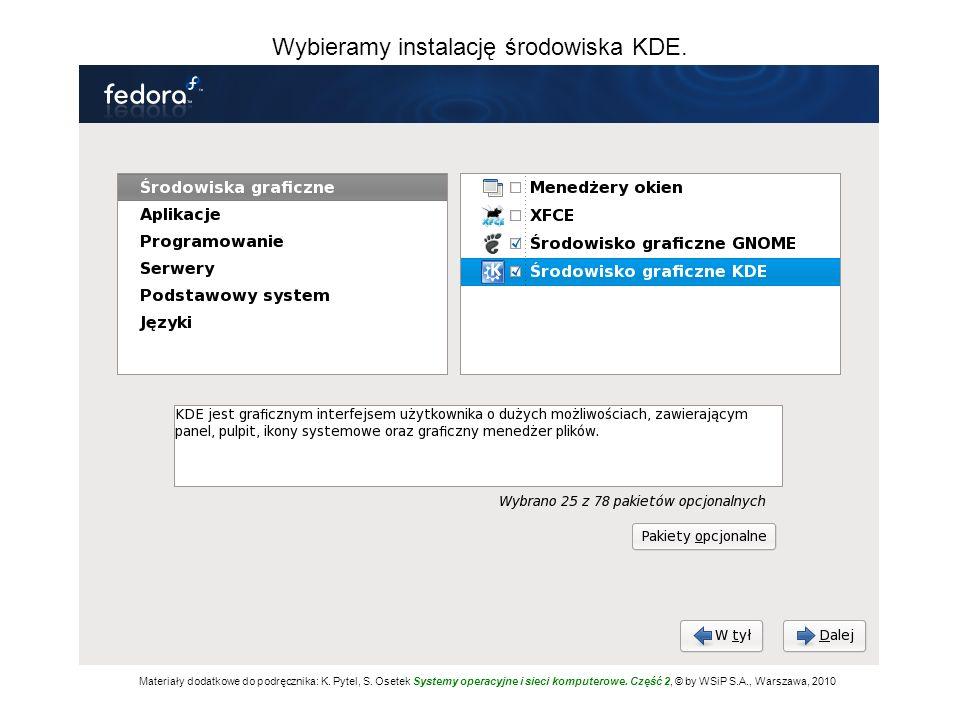 Wybieramy instalację środowiska KDE.