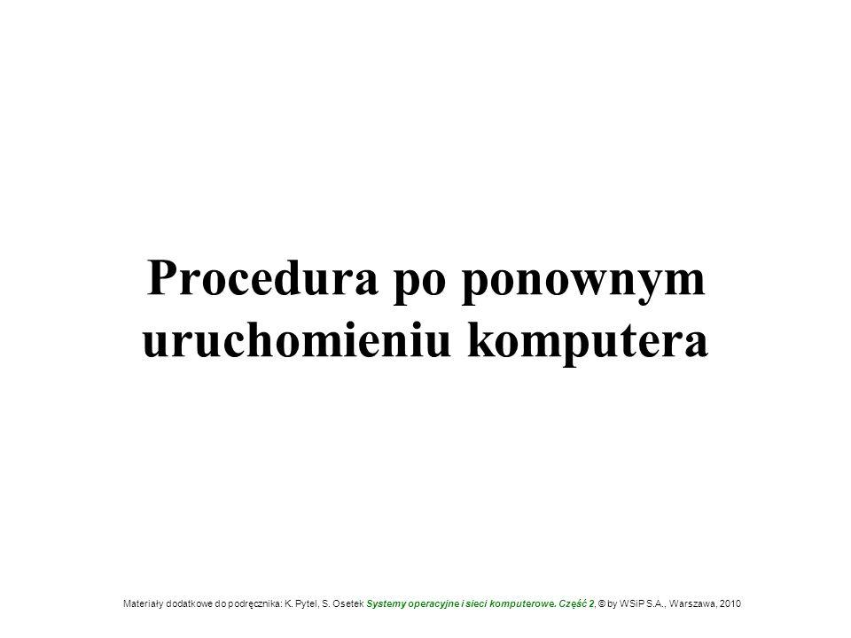 Procedura po ponownym uruchomieniu komputera