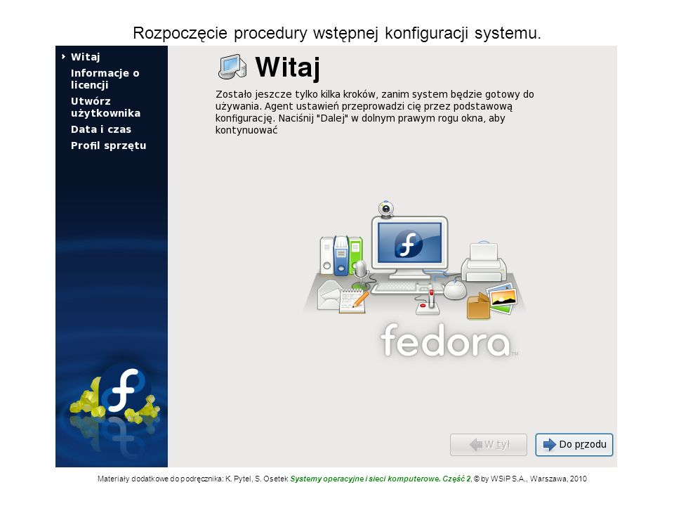 Rozpoczęcie procedury wstępnej konfiguracji systemu.