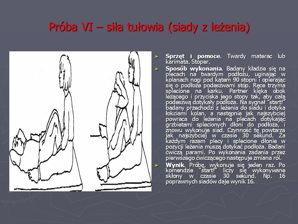 Próba VI – siła tułowia (siady z leżenia)