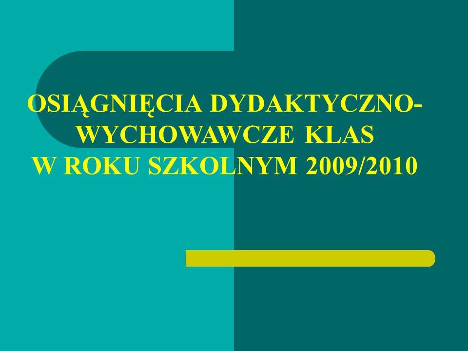 OSIĄGNIĘCIA DYDAKTYCZNO-WYCHOWAWCZE KLAS W ROKU SZKOLNYM 2009/2010