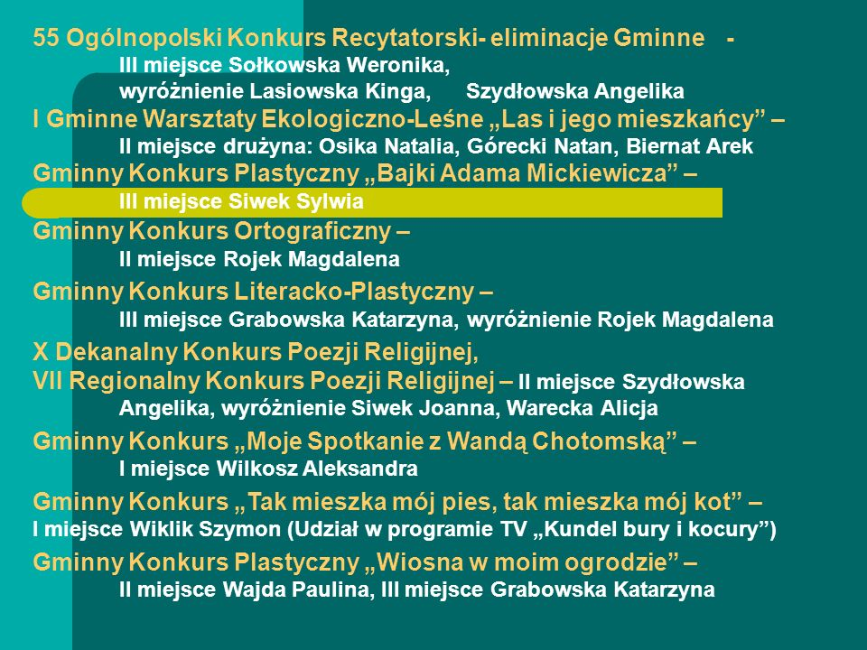 55 Ogólnopolski Konkurs Recytatorski- eliminacje Gminne. -