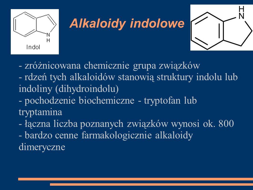 Alkaloidy indolowe - zróżnicowana chemicznie grupa związków