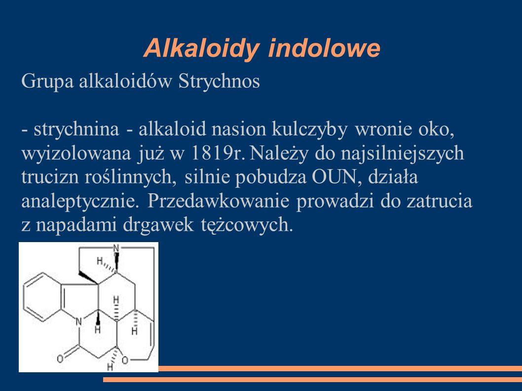 Alkaloidy indolowe Grupa alkaloidów Strychnos