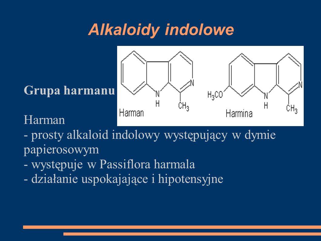 Alkaloidy indolowe Grupa harmanu : Harman