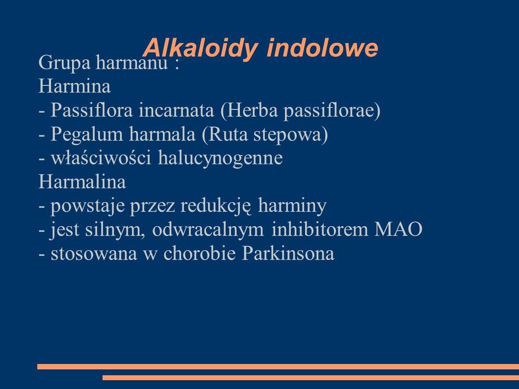 Alkaloidy indolowe Grupa harmanu : Harmina