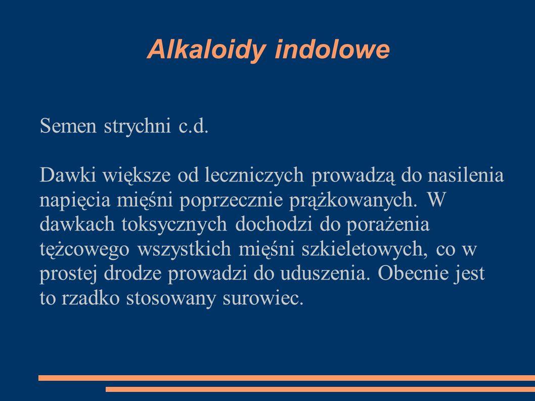 Alkaloidy indolowe Semen strychni c.d.