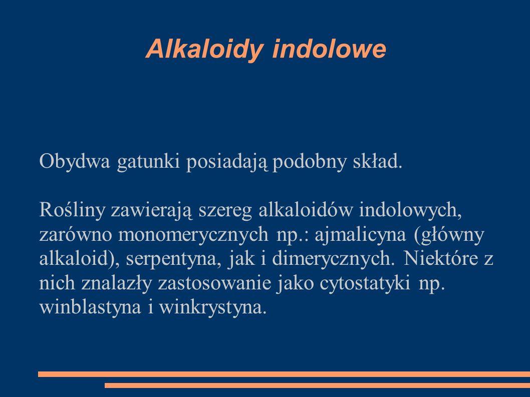 Alkaloidy indolowe Obydwa gatunki posiadają podobny skład.