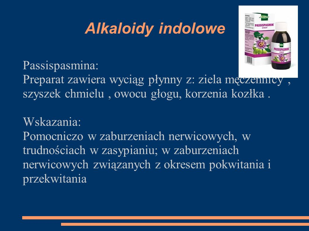 Alkaloidy indolowe Passispasmina:
