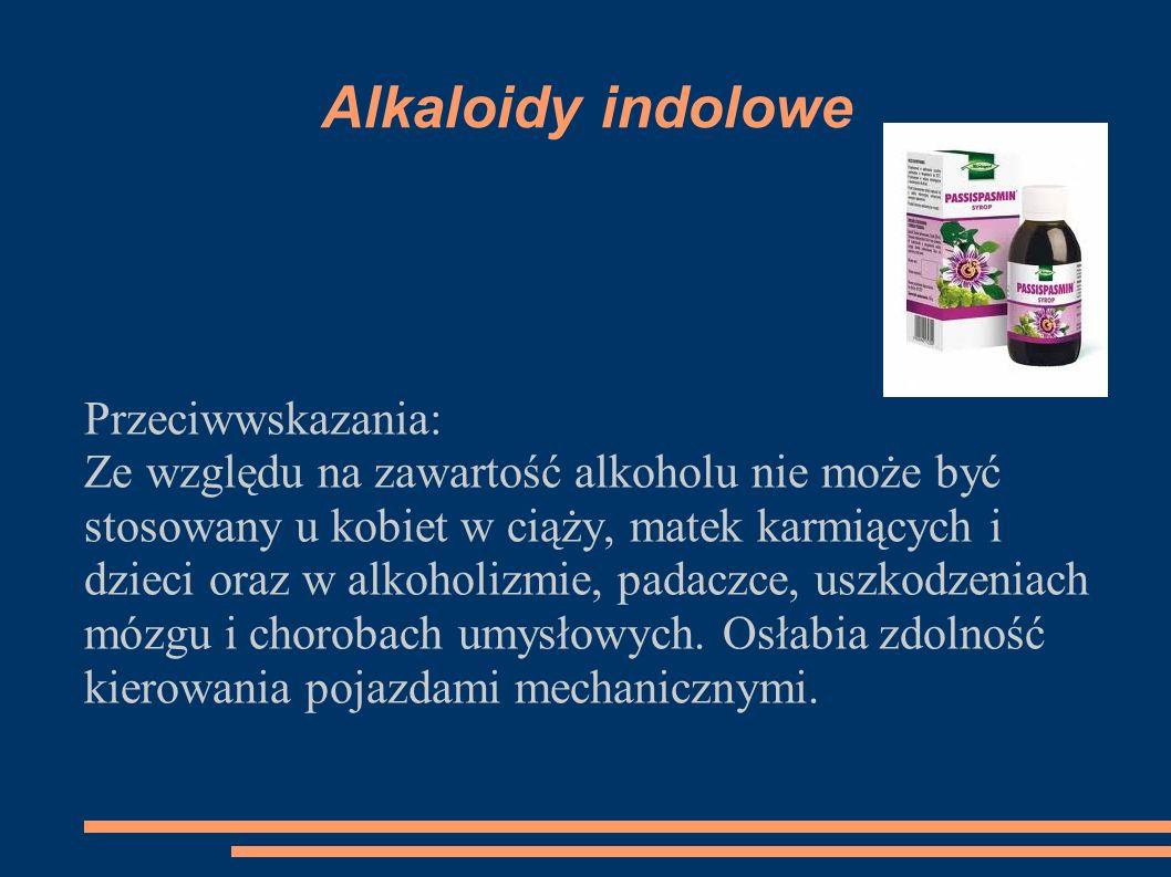 Alkaloidy indolowe Przeciwwskazania: