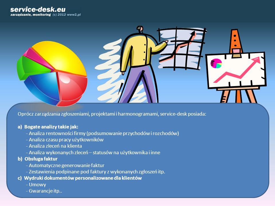Oprócz zarządzania zgłoszeniami, projektami i harmonogramami, service-desk posiada: