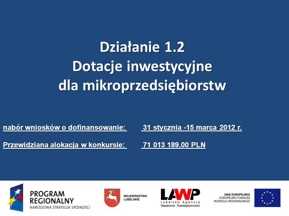 Działanie 1.2 Dotacje inwestycyjne dla mikroprzedsiębiorstw