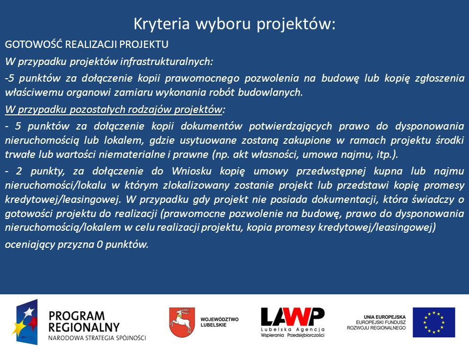 Kryteria wyboru projektów: