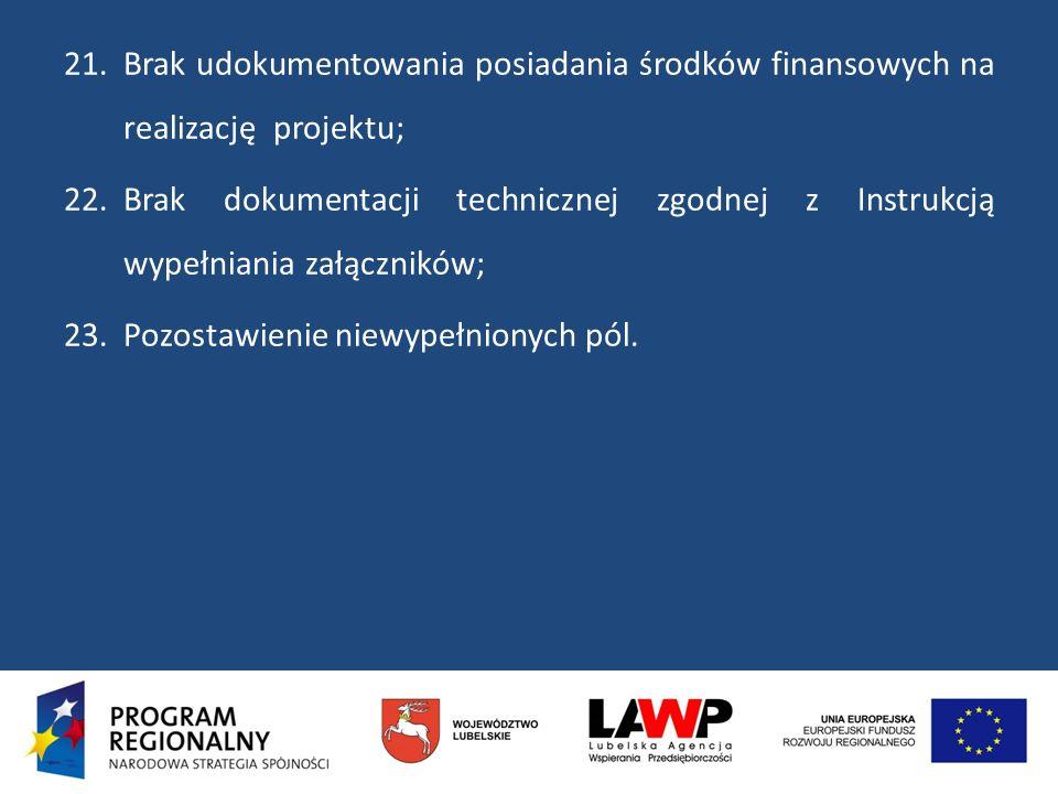 Brak udokumentowania posiadania środków finansowych na realizację projektu;
