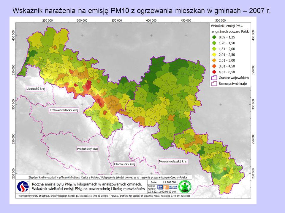 Wskaźnik narażenia na emisję PM10 z ogrzewania mieszkań w gminach – 2007 r.