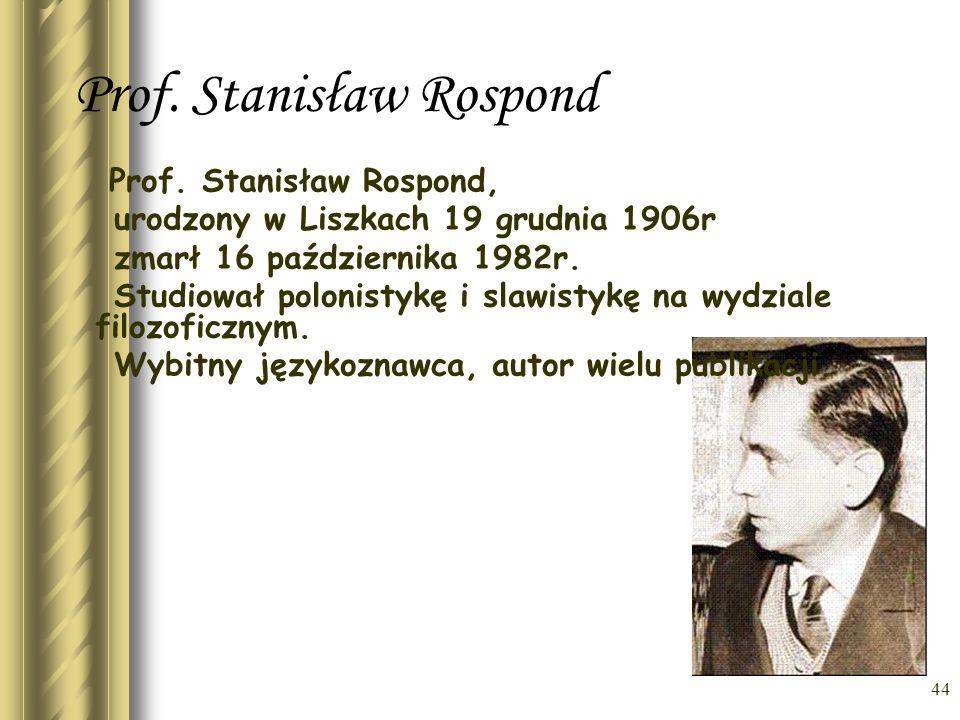 Prof. Stanisław Rospond