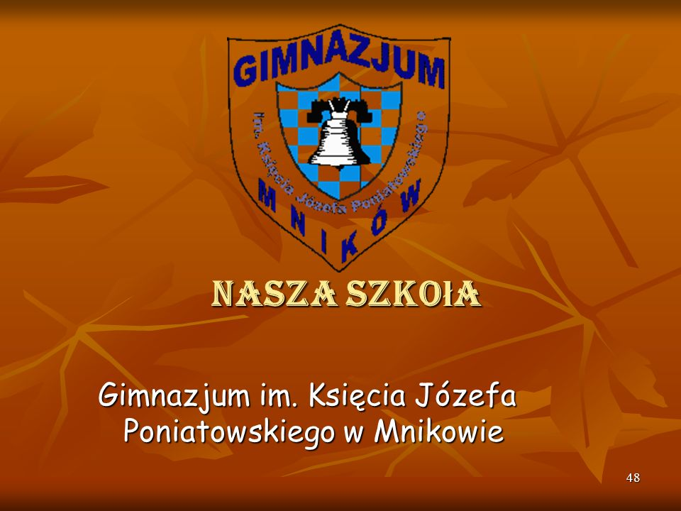 Nasza szkoła Gimnazjum im. Księcia Józefa Poniatowskiego w Mnikowie