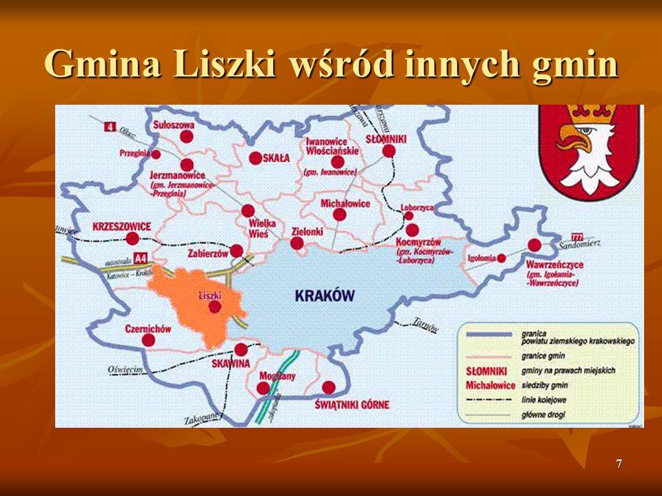 Gmina Liszki wśród innych gmin
