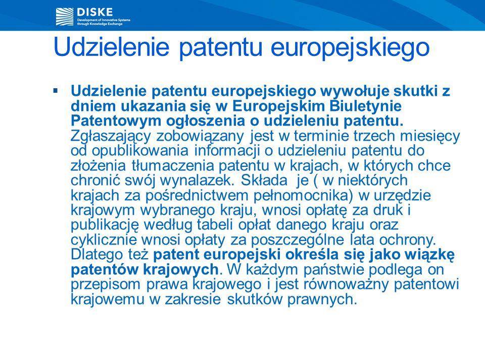 Udzielenie patentu europejskiego