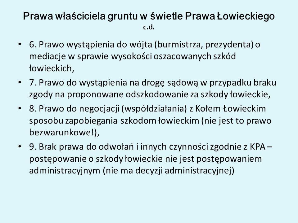 Prawa właściciela gruntu w świetle Prawa Łowieckiego c.d.