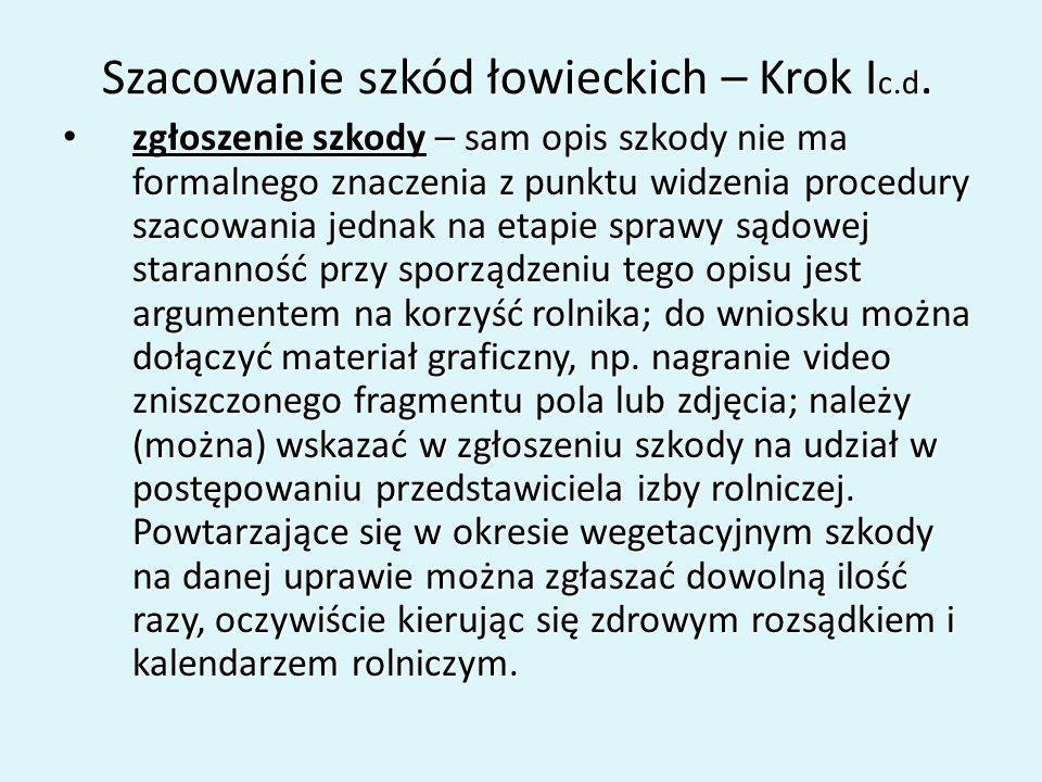 Szacowanie szkód łowieckich – Krok Ic.d.