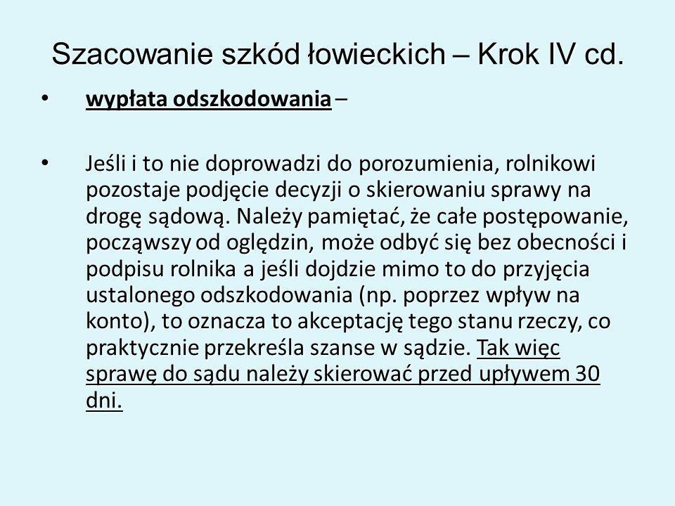 Szacowanie szkód łowieckich – Krok IV cd.
