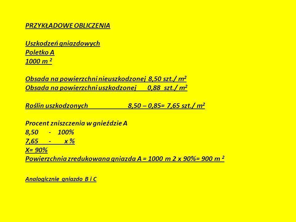 PRZYKŁADOWE OBLICZENIA Uszkodzeń gniazdowych Poletko A 1000 m 2 Obsada na powierzchni nieuszkodzonej 8,50 szt./ m2 Obsada na powierzchni uszkodzonej 0,88 szt./ m2 Roślin uszkodzonych 8,50 – 0,85= 7,65 szt./ m2 Procent zniszczenia w gnieździe A 8,50 - 100% 7,65 - x % X= 90% Powierzchnia zredukowana gniazda A = 1000 m 2 x 90%= 900 m 2 Analogicznie gniazdo B i C