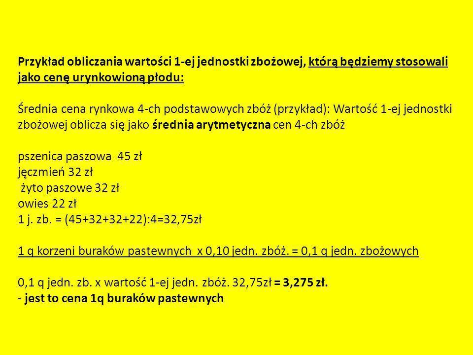 Przykład obliczania wartości 1-ej jednostki zbożowej, którą będziemy stosowali jako cenę urynkowioną płodu: Średnia cena rynkowa 4-ch podstawowych zbóż (przykład): Wartość 1-ej jednostki zbożowej oblicza się jako średnia arytmetyczna cen 4-ch zbóż pszenica paszowa 45 zł jęczmień 32 zł żyto paszowe 32 zł owies 22 zł 1 j.
