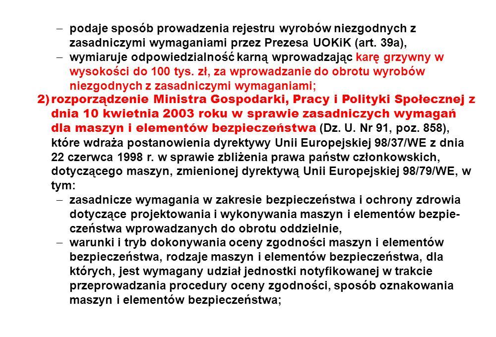  podaje sposób prowadzenia rejestru wyrobów niezgodnych z zasadniczymi wymaganiami przez Prezesa UOKiK (art. 39a),