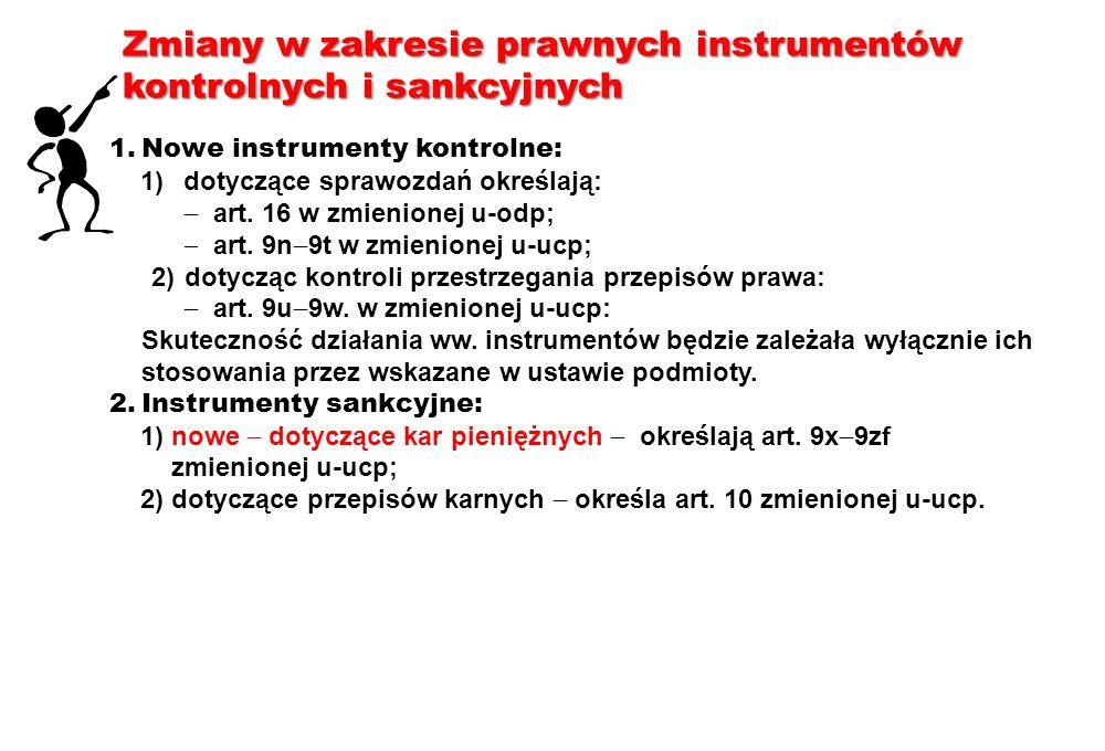 Zmiany w zakresie prawnych instrumentów kontrolnych i sankcyjnych